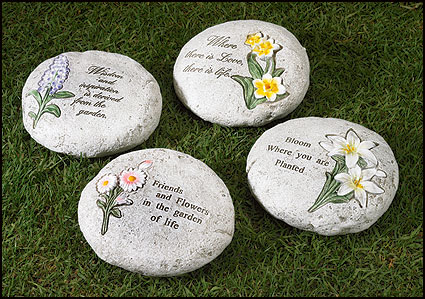 Set of Four Garden Verse Stones
