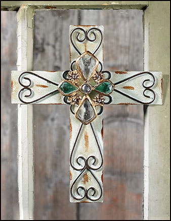 Teal Jeweled Scroll Cross