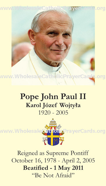 Limited Edition Commemorative John Paul II Beatification Prayer Card