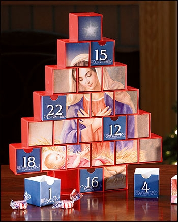 Mary and Baby Jesus Nativity Tree Calendars with Drawers