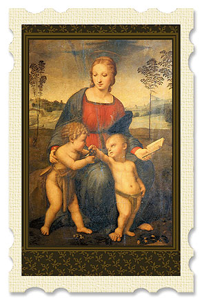 Madonna of the Goldfinch Old Masters Holy Card