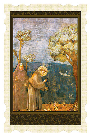 Saint Francis Talks to the Birds Old Masters Holy Card buy 1 get 1 free