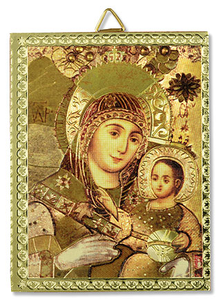 Our Lady of Vladimir Icon Gold-Stamped Wall Plaque