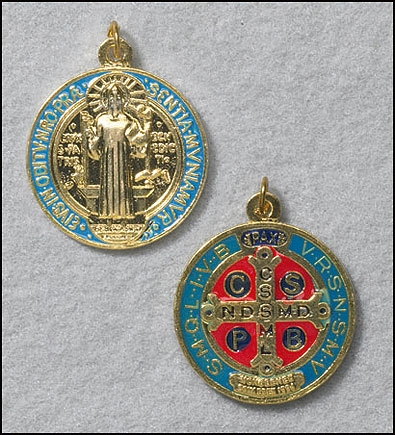 Large gold tone St. Benedict medal