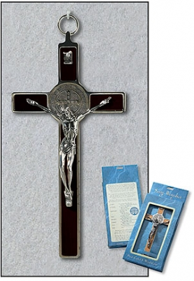 Deluxe Red Enamel St. Benedict Wall Crucifix