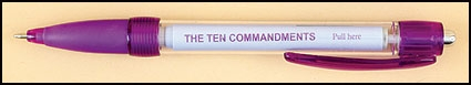 Pull Out Banner 10 Commandments prayer pens
