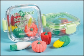 Veggies 3-D Eraser Set