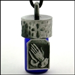 Praying Hands Holy Water Bottle Pendant