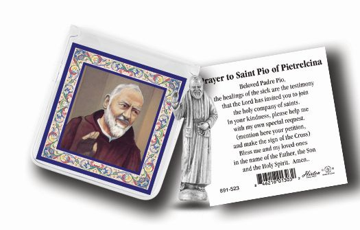 Deluxe St. Padre Pio Pocket Statue in case