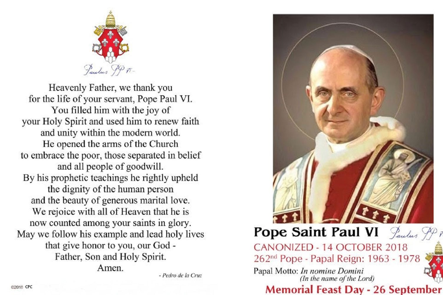 Saint Pope Paul VI Holy Card