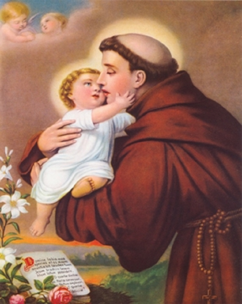 St. Anthony with Baby Jesus Wall Print