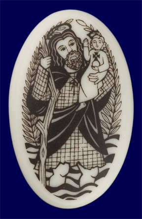 St. Christopher Porcelain Pendant