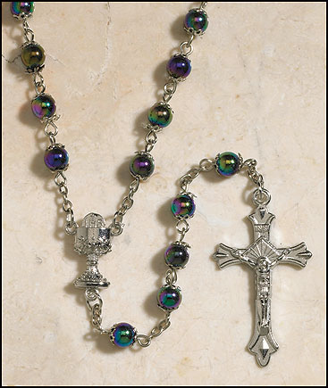 Black First Communion Double Capped Rosary