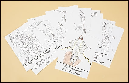 Color your own Stations of the Cross prints