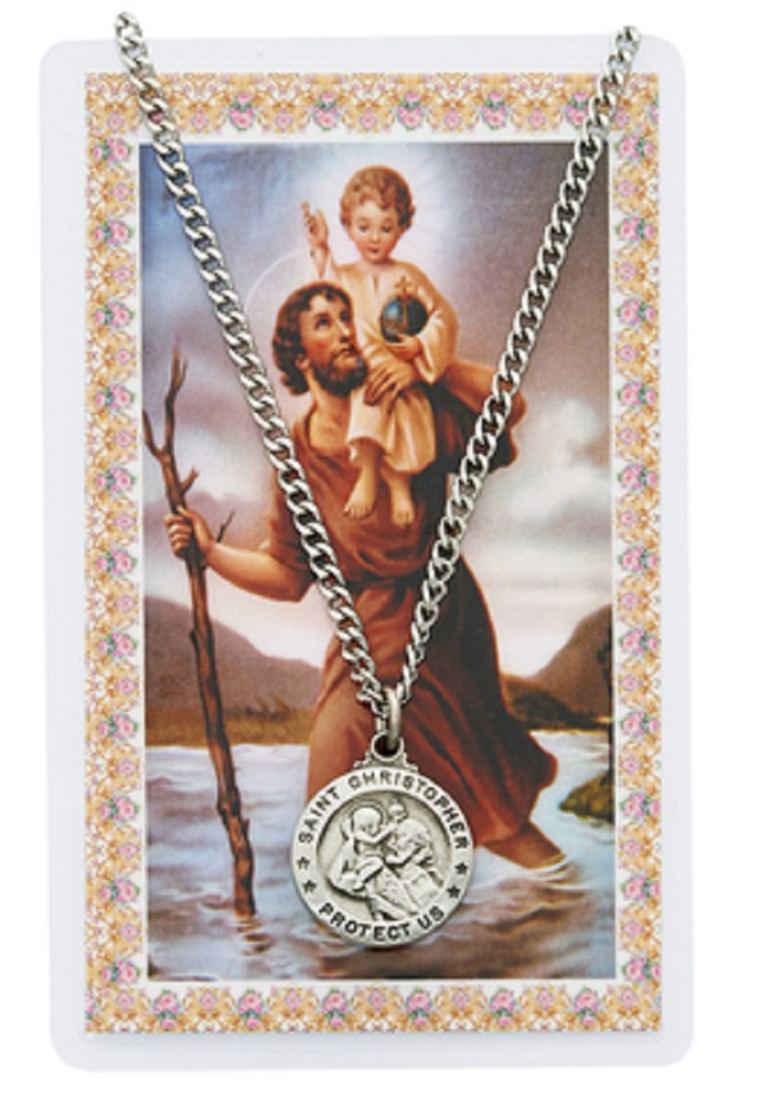 St. Christopher Round Medallion on Chain