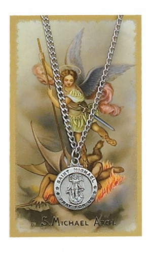 St. Michael laser cut pewter medal on chain with card