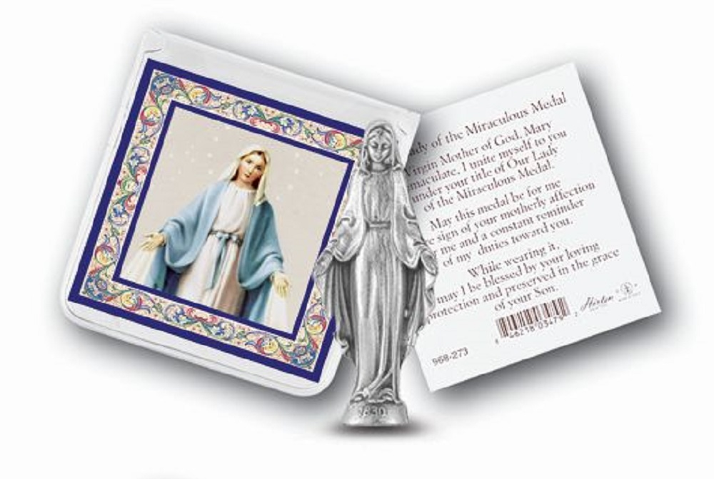Our Lady of Grace Pocket statue in case