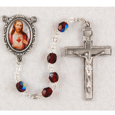 Sacred Heart of Jesus Personalized engraved rosary