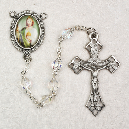 St. Jude Crystal Personalized Engraved Rosary