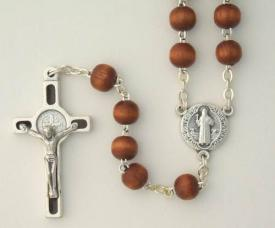 St. Benedict rosary Brown wood bead
