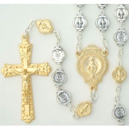 Miraculous Medal two tone rosary