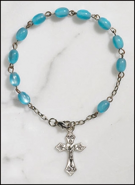 Blue Mother of Pearl Rosary Single Decade Rosary Bracelet