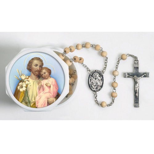 St. Joseph Lily Bead Rosary in 2-piece case