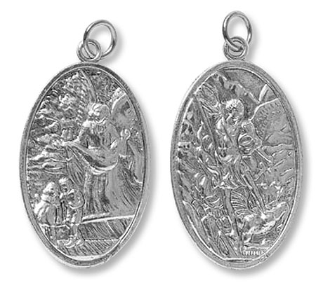 Deluxe Guardian Angel Large St Michael Devotional Medal