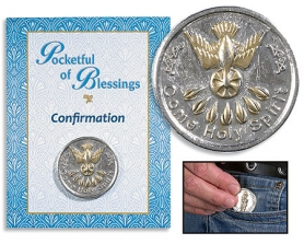 Confirmation Pocketful of Blessings coin on card