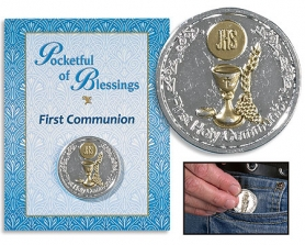 First Communion Pocketful of Blessings coin on card