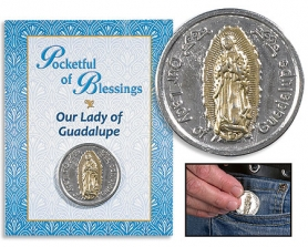 Guadalupe Pocketful of Blessings coin on card