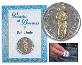 St. Jude Pocketful of Blessings coin on card