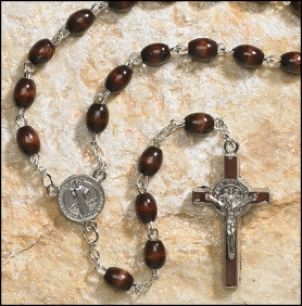 Black wood St. Benedict rosary in FREE St. Benedict Case (b59)