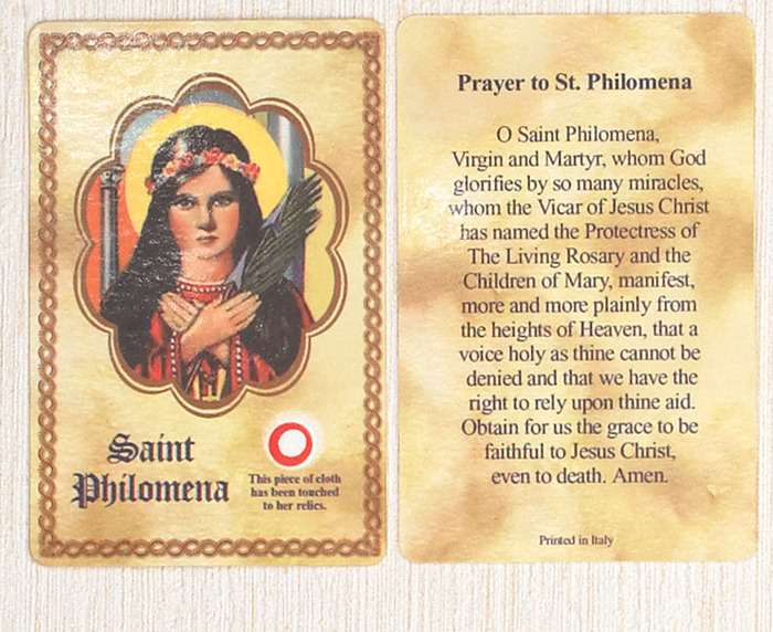 St. Philomena relic cards