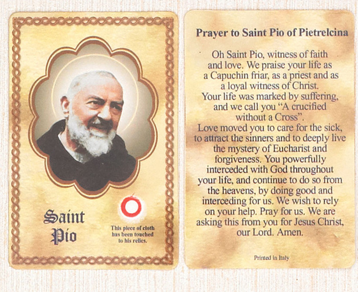 St. Padre Pio Relic cards