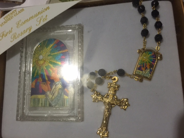 Black First Communion rosary With decorative Tiffany Stained glass image centerpiece Makes a gre
