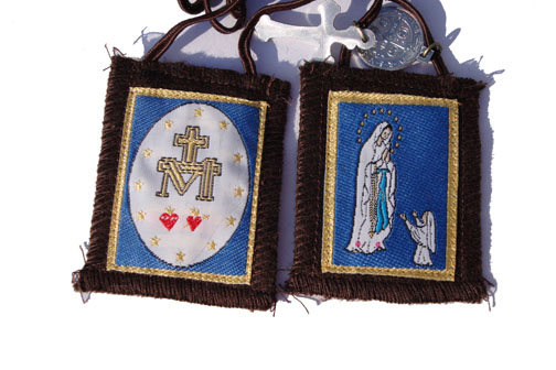 Our Lady of Lourdes brown mt.carmel scapular