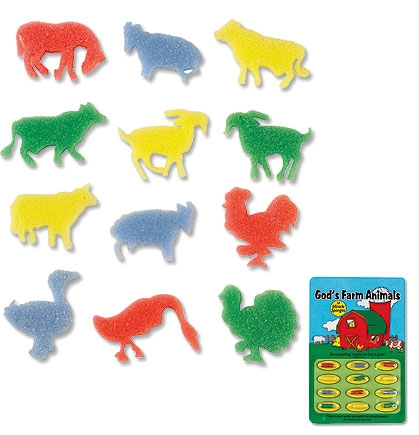 God's Farm Animals Miracle Sponge Set