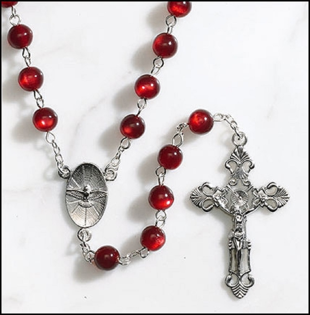 Deluxe Red Bead Confirmation Rosary
