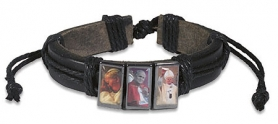 Leather Pope John Paul II bracelet