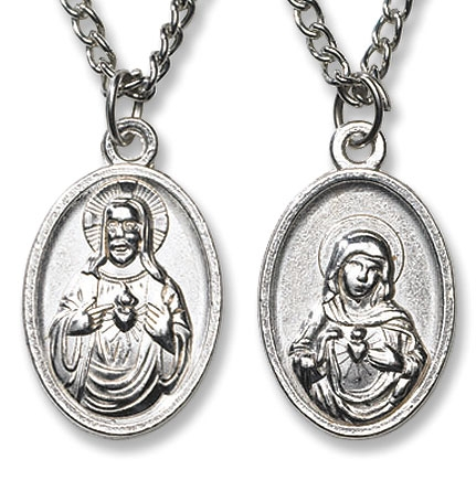 12 pack Sacred Heart, Immaculate Heart Devotional Medal with Chain