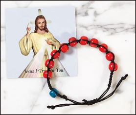 Divine Mercy Rosary Bracelet with card