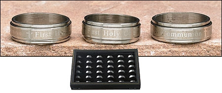 Engraved Our Father Revolving First Communion Ring