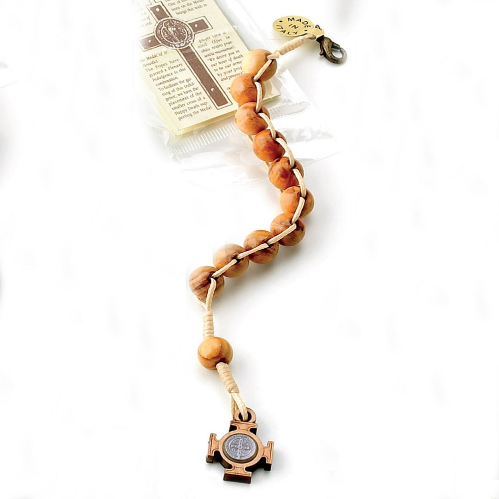 St. Benedict Olive Wood Single Decade Rosary