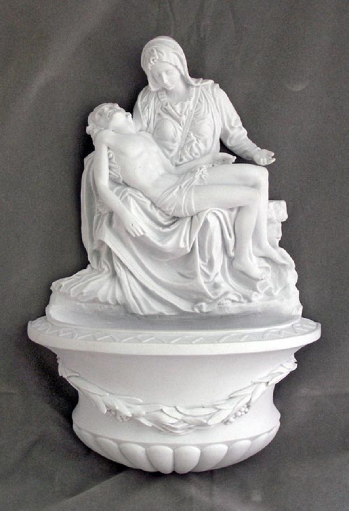 Large White Pieta Alabaster Holy Water Font