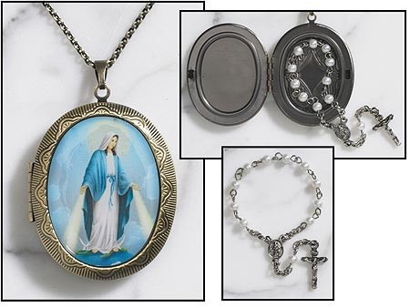 Our Lady of Grace Locket with Rosary inside