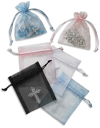 36 Pack Rosary Bag with Silver Cross Assortment
