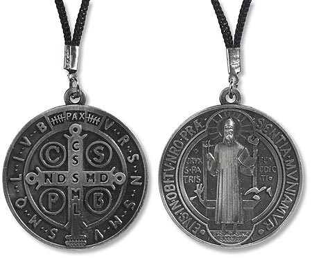 St. Benedict large medallion on cord