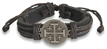 Jerusalem Cross Leather Bracelet