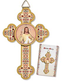 3D Divine Mercy Wood Cross in container